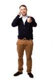Donner heureux d'homme des pouces lèvent le geste Images libres de droits
