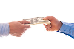 Donner l'argent Image stock