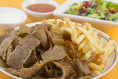 Donner Meat & Chips Stock Photo