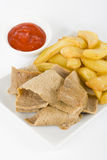 Donner Meat & Chips Royalty Free Stock Photography