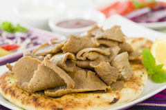 Donner Meat on Naan Royalty Free Stock Photography