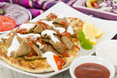 Donner Meat on Naan Stock Photos