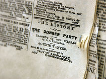 The Donner Party Newspaper Clipping Royalty Free Stock Photography