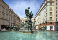 Donnerbrunnen fountain on the Neuer Markt square in the inner city of Vienna, Austria royalty free stock images