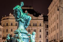 Donnerbrunnen fountain in Vienna in Christmas time. Austria Stock Image