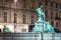 Donnerbrunnen fountain in Vienna in Christmas time. Austria Royalty Free Stock Images