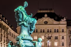 Donnerbrunnen fountain in Vienna in Christmas time. Austria Royalty Free Stock Photos