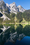 Donnerkogel reflected on the Gosau lake Stock Photo