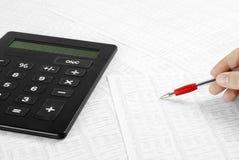 Données financières calculatrices Photos stock