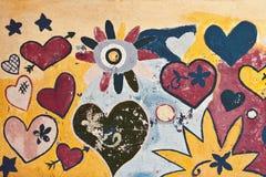 Donnez au fond une consistance rugueuse avec des coeurs, des étoiles et des fleurs Photo stock
