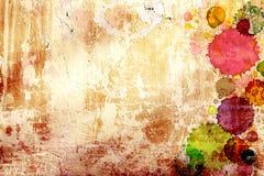 Donnez au vieux mur une consistance rugueuse de stuc avec des taches de peinture Images libres de droits