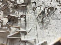 Donnez aux agrafes une consistance rugueuse rouillées grunges épluchées par blanc de poteau de téléphone d'épluchage de peinture  Photos stock