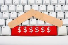 Donnez l'argent en ligne Photo libre de droits