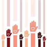 Donnez l'icône avec la main et le coeur réglés dans l'illustration colorée Image libre de droits