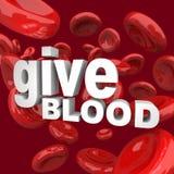 Donnez le sang - des mots et des cellules Photographie stock libre de droits