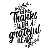 Donnez les mercis avec un coeur reconnaissant illustration stock