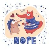 DONNEZ les POISSONS Valentine Cartoon Animal Set illustration de vecteur
