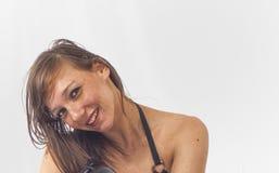 Donnez-moi un sourire doux - fille de brune photo libre de droits