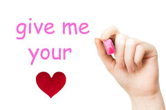 Donnez-moi votre coeur, marqueur rose Image libre de droits