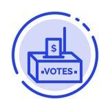 Dono, corruzione, elezione, influenza, linea punteggiata blu linea icona dei soldi illustrazione di stock