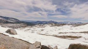 Donohue Pass. Snowy Sierra Nevada mountain pass in Yosemite National Park stock footage