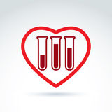 Donor blood heart and Circulatory system icon, test tube, virus, Royalty Free Stock Photos