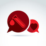 Donor blood heart and Circulatory system icon, vector conceptual Royalty Free Stock Images