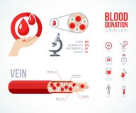 Donor infographics Icons Set Stock Photo
