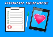 Donor Service. Clipboard with medical cross and tablet on table clinical record prescription claim medica vector illustration