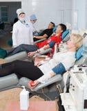 Donors at hemotransfusion station Stock Images