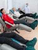 Donors at hemotransfusion station Stock Photo