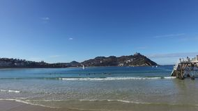 Donostia圣塞巴斯蒂安,巴斯克地区,城市,西班牙 La外耳海滩,全景 影视素材