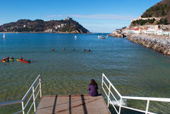 Donostia,圣塞瓦斯蒂安,比斯开湾,巴斯克地区,西班牙,欧洲 免版税库存图片