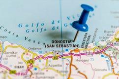 Donostia / San Sebastián on map royalty free stock photography