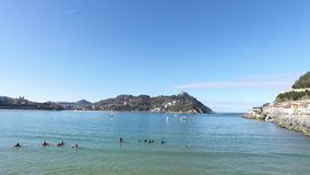 Donostia-San Sebastian, Basque Country, City, Spain. The La Concha beach, panoramic view from the pier. stock video footage