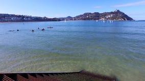Donostia-San Sebastian, Basque Country, City, Spain. The La Concha beach, panoramic view. Royalty Free Stock Photo