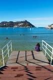 Donostia San Sebastian, Bay of Biscay, baskiskt land, Spanien, Europa Royaltyfri Bild