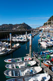 The skylne of San Sebastian, Donostia, port, boats, Bay of Biscay, Basque Country, Spain, Europe. Basque Country, Spain, 28/01/2017: boats in the port of the Old royalty free stock image