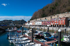 The skyline of San Sebastian, Donostia, port, boats, Bay of Biscay, Basque Country, Spain, Europe. Basque Country, Spain, 28/01/2017: boats in the port and view stock photo