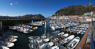 Donostia, San Sebastian, Bay of Biscay, Basque Country, Spain, Europe. Basque Country, Spain, 28/01/2017: boats in the port and view of the skyline on the royalty free stock images