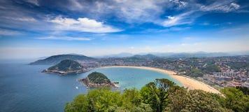Donostia San Sebastian från över Fotografering för Bildbyråer