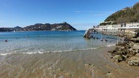 Donostia-San Sebastian, país Basque, cidade, Espanha A praia do Concha do La, vista panorâmica Foto de Stock Royalty Free