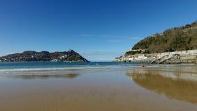 Donostia-San Sebastian, país Basque, cidade, Espanha A praia do Concha do La, vista panorâmica Fotos de Stock Royalty Free