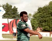 Donovan McNabb, 2001 QB Challenge. Donovan McNabb, participating in the 2001 QB Challenge. Image taken from color slide stock photos