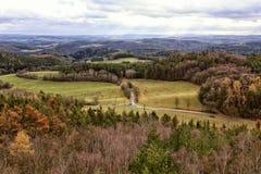 Donsachtig de herfstpanorama van bossen en bomen met kruispunten stock foto's