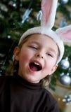 Donsachtig konijntjeskostuum. stock afbeeldingen