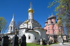 Donskoy修道院在莫斯科,俄罗斯 库存图片