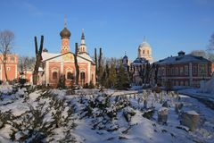 Donskoy Monastery. Medieval Russian churches on the territory. Royalty Free Stock Images
