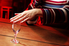 Dont drink. Woman refused drinking alcohol in bar stock photo