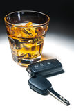 Dont drink and drive. Whiskey with car keys concept for drinking and driving Royalty Free Stock Images